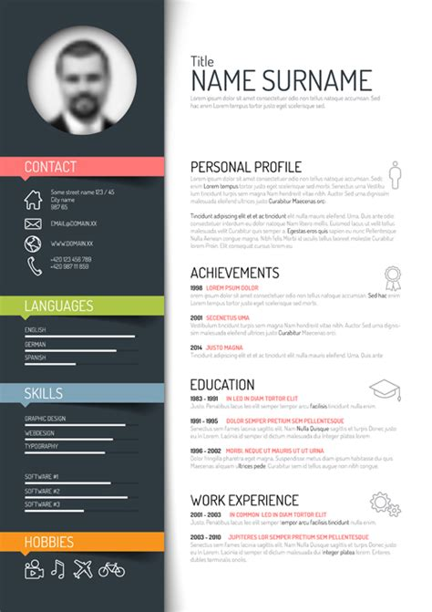 creative resume template design vectors 02 free