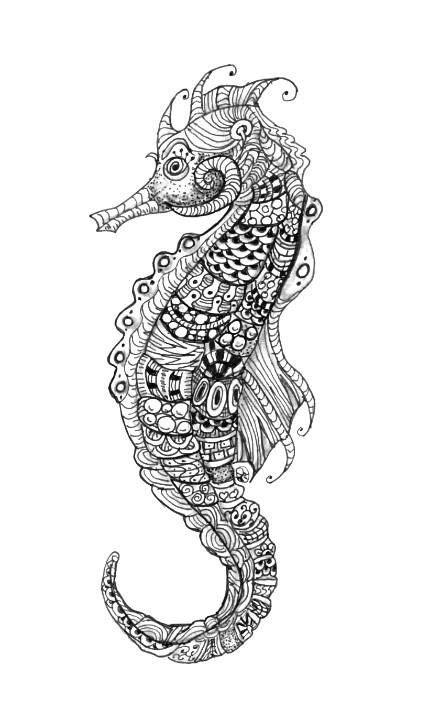 Seahorse Zentangle. #tangle | My Graphic/Zentangle/Z.I.A Artwork in 2019 | Sea life art