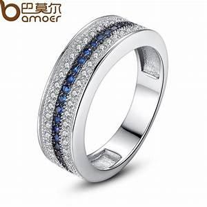 bamoer luxury platinum plated women wedding ring in micro With platinum wedding ring women