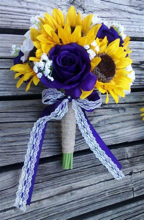 sunflower bouquet purple rose sunflower bridal bouquet