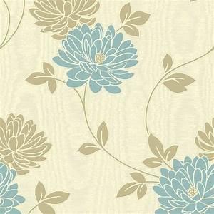 Buy Fine Decor Madison Wallpaper Cream / Blue