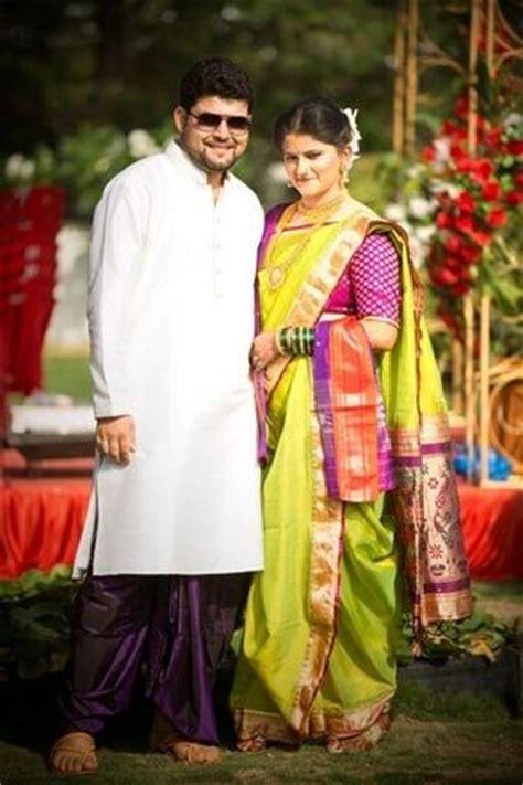 traditional parrot green marathi paithani saree couple