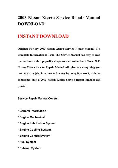 car owners manuals free downloads 2003 nissan xterra parental controls 2003 nissan xterra service repair manual download