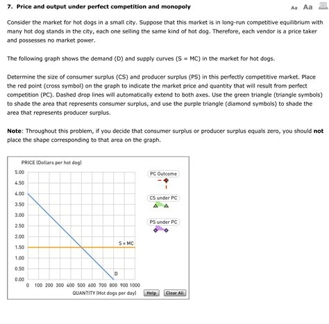 Solved 7 Price And Output Under Perfect Competition And