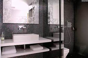 Bad Deko Schwarz : mosaik fliesen badezimmer schwarz weiss waschbecken rechteckig abgerundet armatur youtube ~ Sanjose-hotels-ca.com Haus und Dekorationen