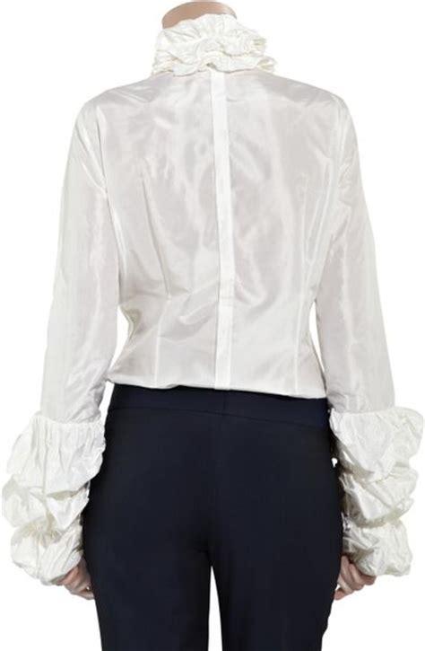 ruffled white blouse l 39 wren ruffled silk taffeta blouse in white lyst