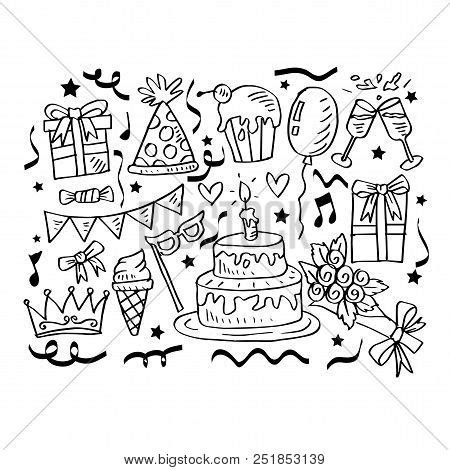 birthday doodles set vector photo  trial bigstock