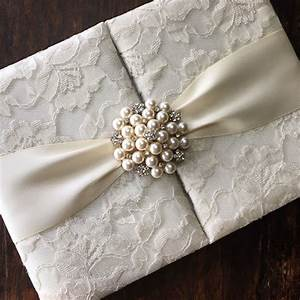 handmade ivory pearl brooch embellished lace wedding With lace fabric wedding invitations