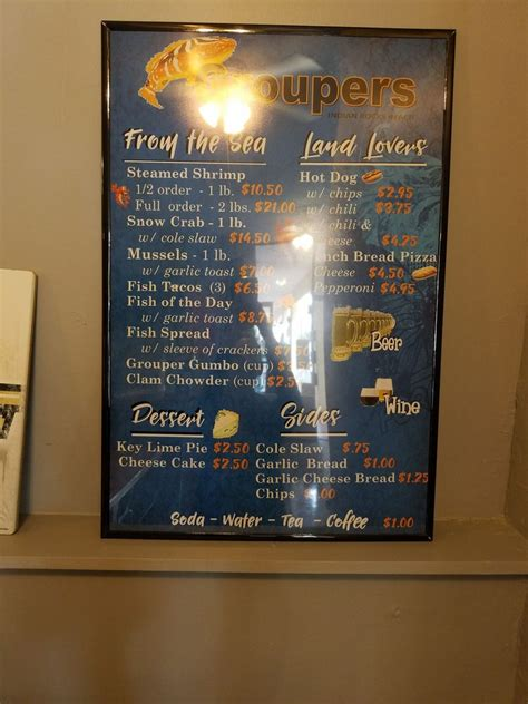 groupers rocks indian menu beach restaurant florida fl prior ordering accurate directly visiting notice subject change without before please most