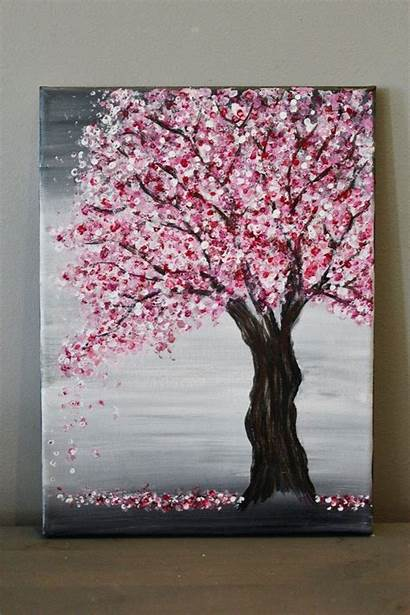 Blossom Cherry Painting Tree Easy Canvas Beginners