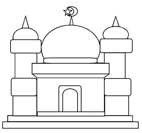 menggambar gambar masjid mewarnai