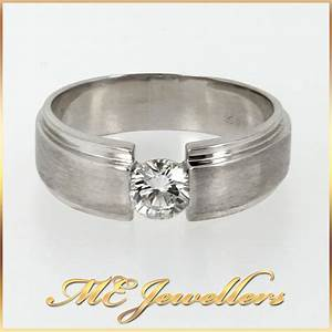 solid 18k 18ct white gold mens wedding band ring with 0 With 18ct white gold mens wedding ring