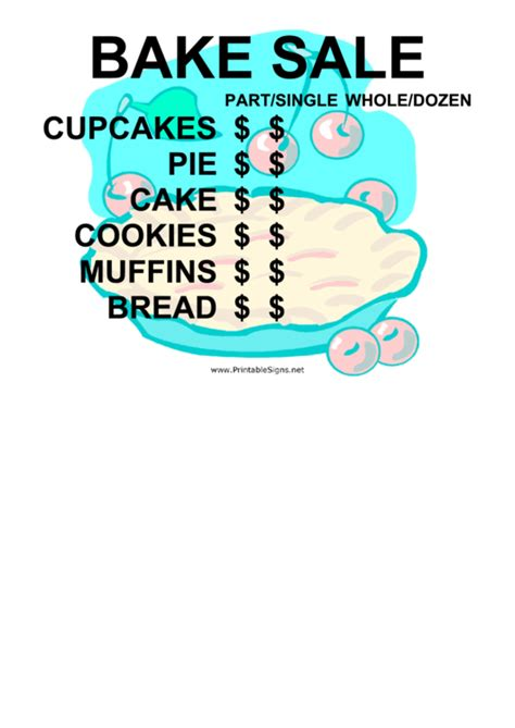 bake sale  price list sign printable
