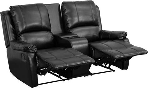 black leather pillowtop  seat home theater recliner