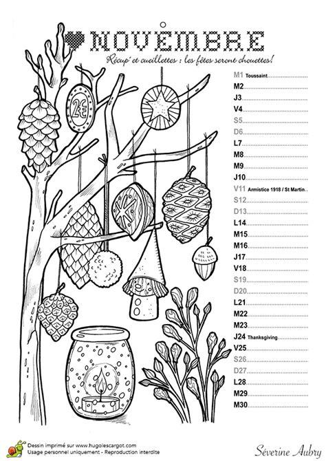 jeu cuisine dessin à colorier mois de novembre du calendrier des