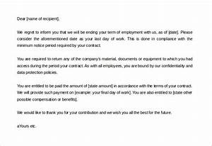 20 contract termination letter templates pdf doc With contract letter format for employees
