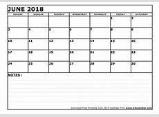 Blank June 2018 Calendar in Printable format