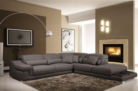 canape angle cuir gris canap mobilier priv 233