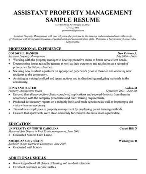 property management resume exles assistant property management resume objective