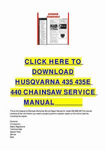 Husqvarna 435 435e 440 Chainsaw Service Manual By Cycle