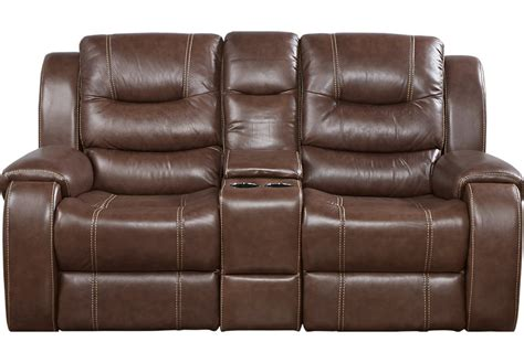 Leather Reclining Loveseat With Center Console by Veneto Brown Leather Reclining Console Loveseat Leather