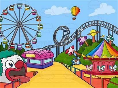 Amusement Park Clipart Parks Theme Background Cartoon