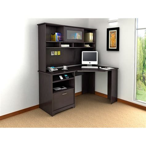 bush cabot 60 quot corner computer desk with hutch espresso
