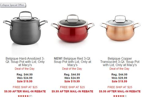 macys belgique hard anodized copper  red  qt soup pot  lid   rebate reg