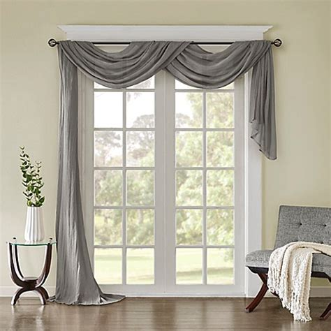 Kitchen Scarf Valance by Park Solid Crushed Sheer Scarf Window