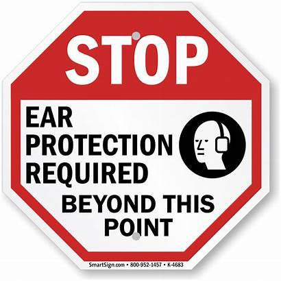 Protection Ear Sign Required Area Safety Stop