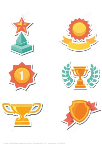 printable trophy  awards stickers  printable papercraft templates