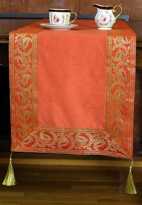 banarasi orange table border runner fabric saree banarsi runners indian decor designs placemats fall chic elegant room these bedrooms inspired
