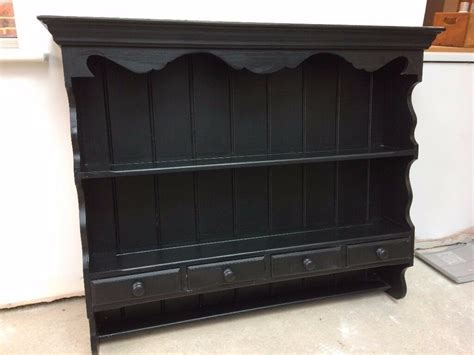 wall mounted black painted pine kitchen welsh dresser  drawers  lindfield west sussex