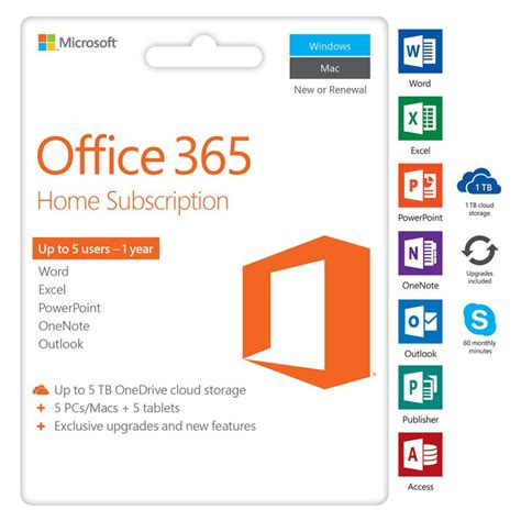 Office 365 Home Subscription by Microsoft Office 365 Home 5 Devices 1 Year Next Century