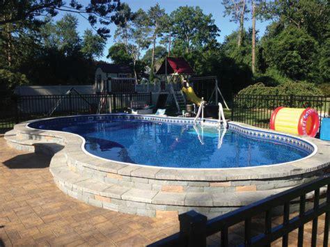 Metric Freeform Pool  Semiinground Installation New