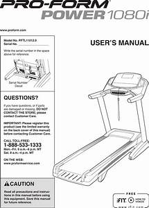 Proform Pftl110120 Power 1080i Treadmill Users Manual