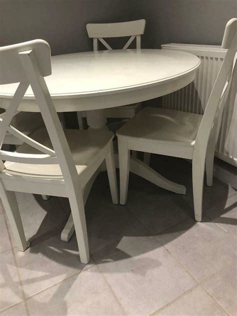 This stylish but functional round coffee table brings luxury into any home without being visually overwhelming. Ikea white round extendable table with four chairs | in Leslie, Fife | Gumtree