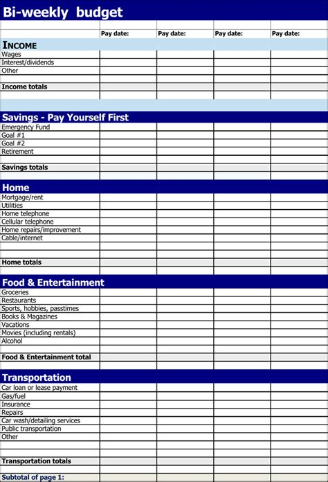 bi weekly budget templates  easy   plan  budget