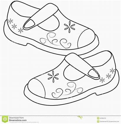 Coloring Shoe Pair Sketch Drawing Clipart Printable