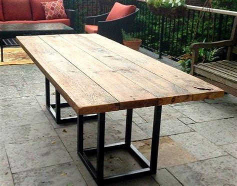 outdoor farmhouse dining table salvaged barn board dining outdoor dining table with metal