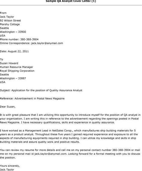 quality assurance analyst resume cover letter sle cover letter for qa tester dailynewsreports395 web fc2