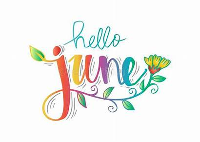 June Hello Greeting Lettering Card Hand