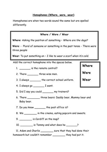 homophones where were wear by bonnierayner teaching