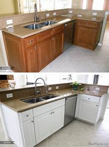 painting dark kitchen cabinets white - before and after