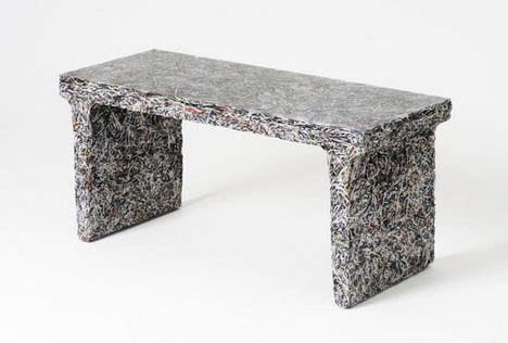 shredded documents molded resin fossilized furniture