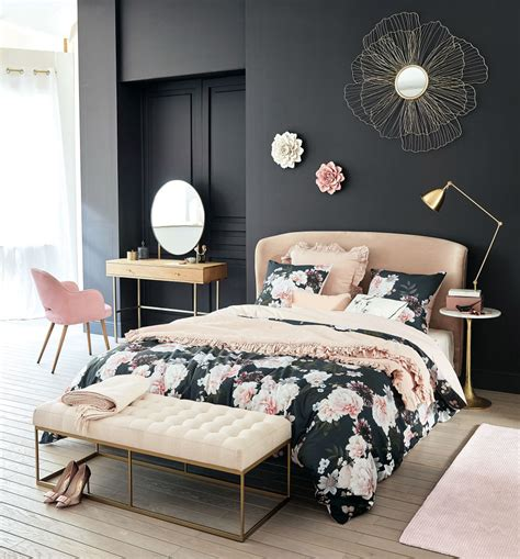 Coussin duo tête de lit coton, souris & gris l.70 x h.45 cm. Tête de lit 160 en velours rose Tara | Maisons du Monde