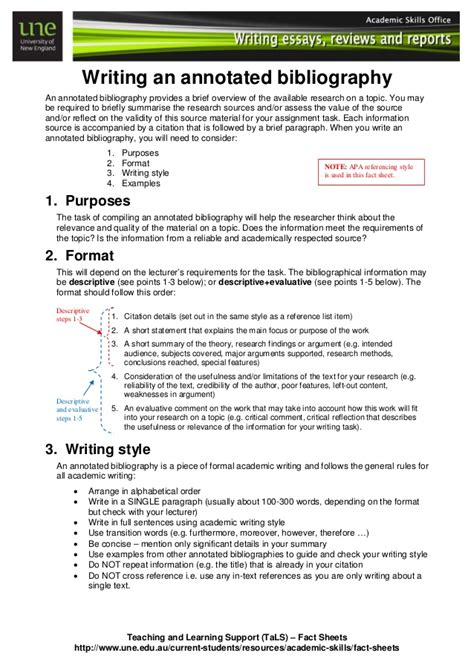 annotated bibliography reference list