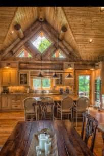 cabin kitchen log me in pinterest
