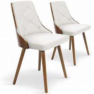 Chaise En Bois Blanc : chaises scandinaves effet cuir bois noisette blanc lot de 2 pas cher scandinave deco ~ Teatrodelosmanantiales.com Idées de Décoration