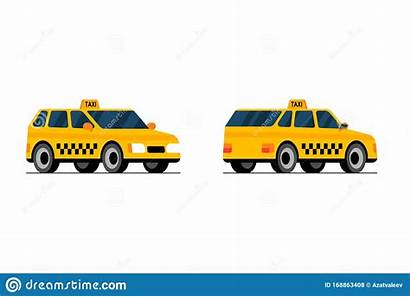 Taxi Cartoon Yellow Side Cab Perpective Transport